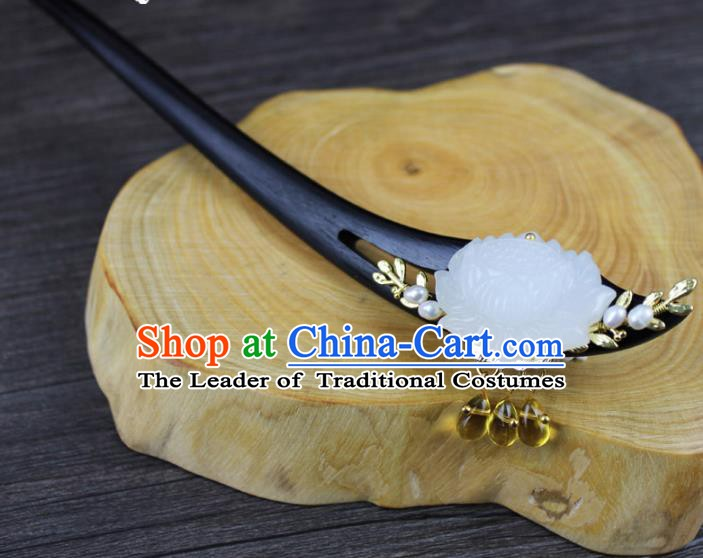Chinese Ancient Handmade Hair Accessories Ebony Hairpin Hair Fascinators Jade Lotus Hairpins for Women