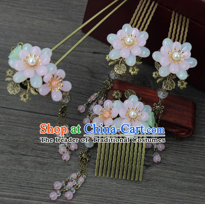 Chinese Ancient Handmade Hair Accessories Hairpins Hair Combs Complete Set for Women