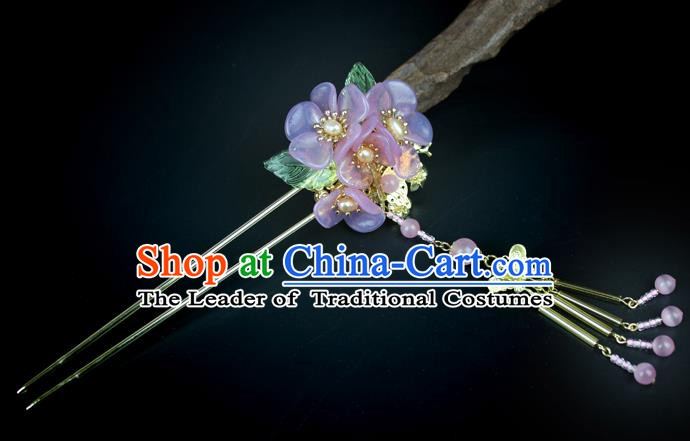 Chinese Ancient Handmade Hair Accessories Purple Flowers Hair Clips Tassel Step Shake Hairpins for Women