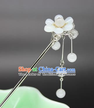 Chinese Ancient Handmade Hair Accessories White Beads Tassel Step Shake Hair Stick Hairpins for Women