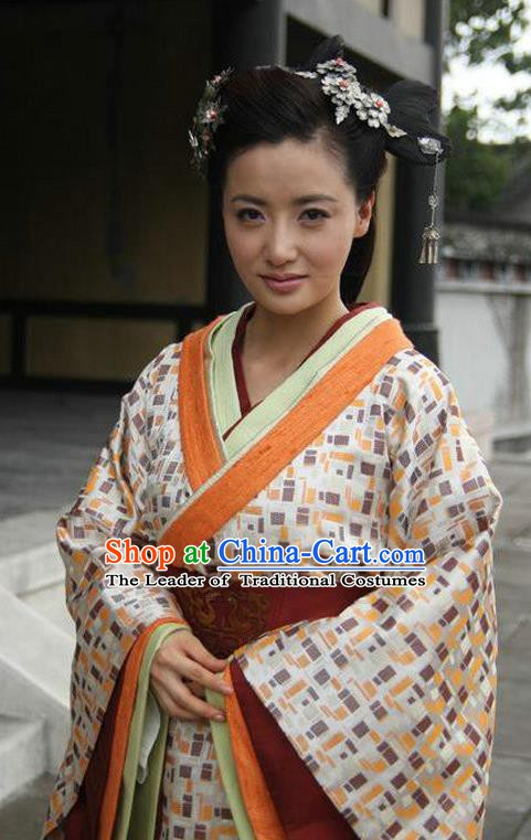 Ancient Traditional Chinese Han Dynasty Palace Lady Replica Costume Hanfu Dress for Women