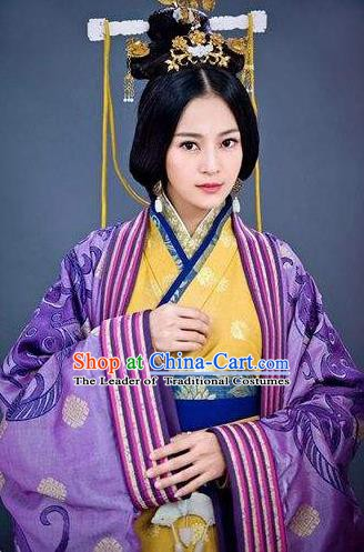 Ancient Traditional Chinese Eastern Han Dynasty Coquette Deng Chan Hanfu Dress Replica Costume for Women