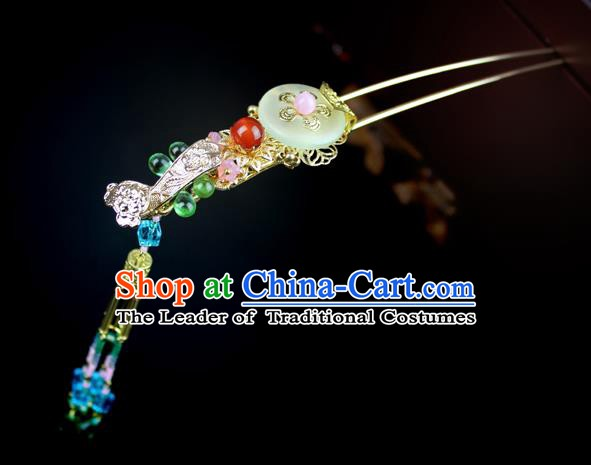 Chinese Ancient Handmade Hair Accessories Classical Hairpins Hanfu Tassel Step Shake for Women