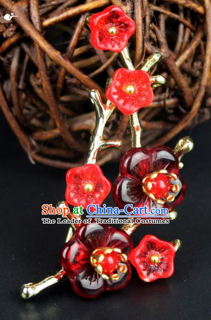 Chinese Ancient Handmade Accessories Red Plum Blossom Brooch for Women
