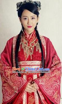 Chinese Ancient Wei and Jin Dynasties Palace Lady Embroidered Wedding Hanfu Dress Replica Costume for Women
