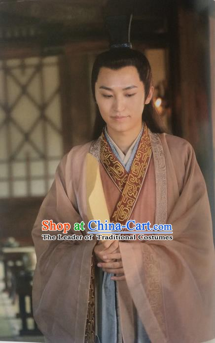 Traditional Chinese Wei and Jin Dynasties Calligrapher Wang Xizhi Replica Costume for Men