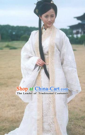 Chinese Ancient Han Dynasty Xiaowu Empress Wei Zifu Embroidered Hanfu Dress Replica Costume for Women