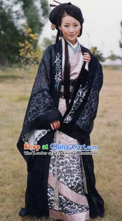 Chinese Ancient Han Dynasty Princess Pingyang Embroidered Hanfu Dress Replica Costume for Women