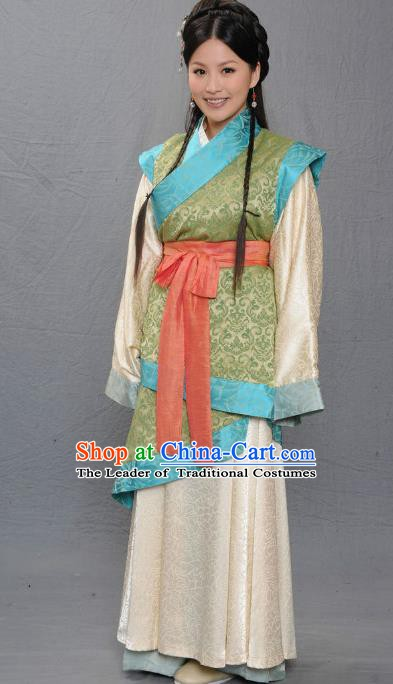 Chinese Ancient Warring States Period Young Lady Hanfu Dress Replica Costume for Women