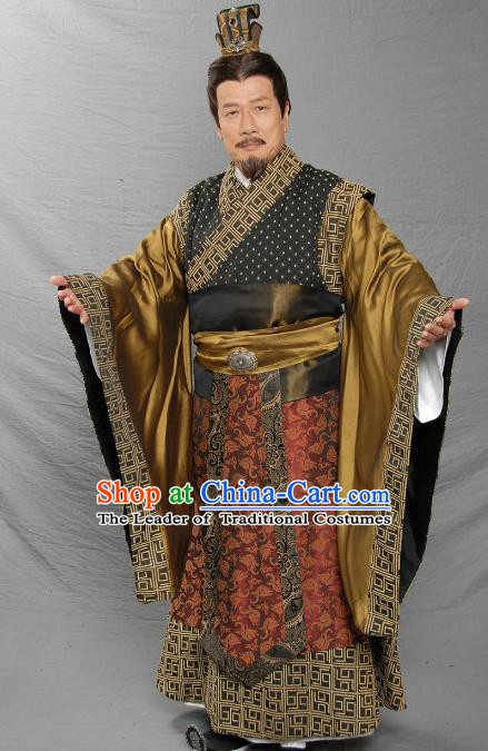 Ancient Chinese Eastern Han Dynasty Jingzhou Feudal Provincial Liu Biao Replica Costume for Men