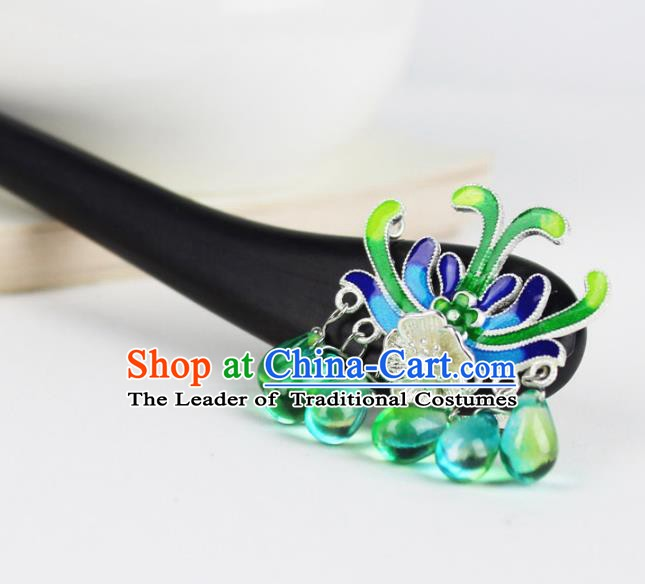 Chinese Ancient Handmade Hair Accessories Green Beads Tassel Hair Clip Classical Hanfu Hairpins for Women