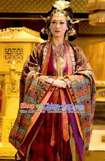 Chinese Ancient Five Dynasties and Ten Kingdoms Shu Empress Meng Hanfu Dress Replica Costume for Women