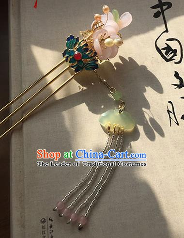 Chinese Ancient Hanfu Handmade Blueing Lotus Tassel Hairpins Hair Accessories Hair Clip for Women