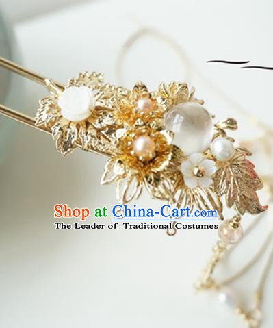 Chinese Ancient Handmade Fine Copper Hair Clip Hanfu Hairpins Hair Accessories for Women