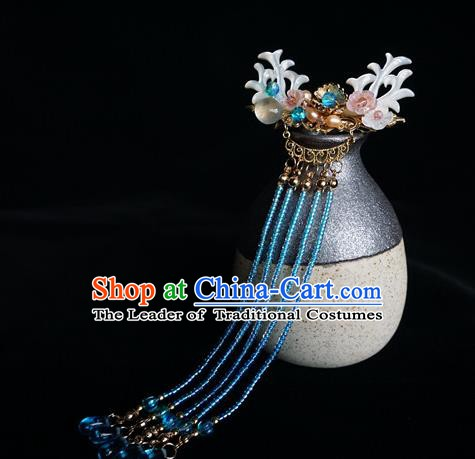 Chinese Ancient Handmade Hanfu Blue Beads Tassel Hairpins Step Shake Hair Accessories for Women