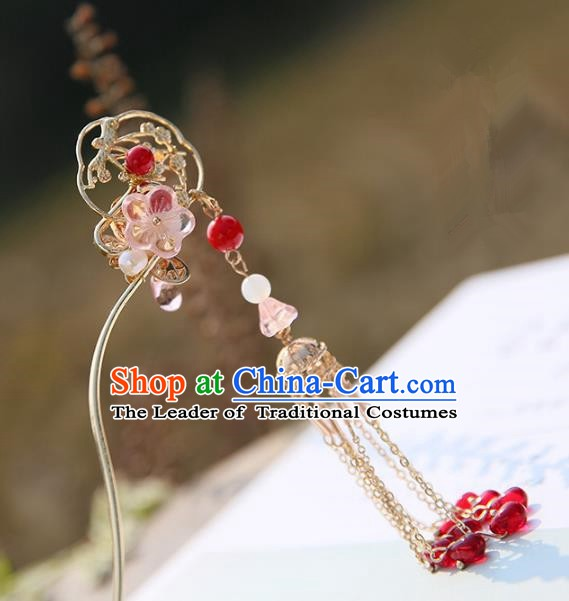 Chinese Ancient Handmade Hanfu Red Beads Tassel Step Shake Hairpins Palace Lady Hair Accessories for Women