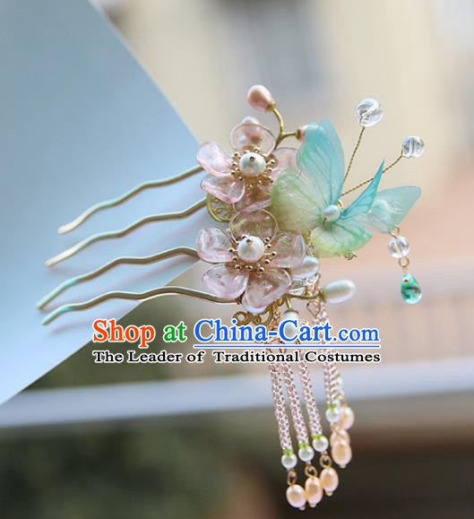Chinese Ancient Handmade Hanfu Hairpins Palace Lady Butterfly Hair Comb Hair Accessories for Women