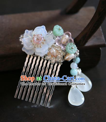 Chinese Ancient Handmade Hanfu Hairpins Palace Lady Lotus Hair Comb Hair Accessories for Women