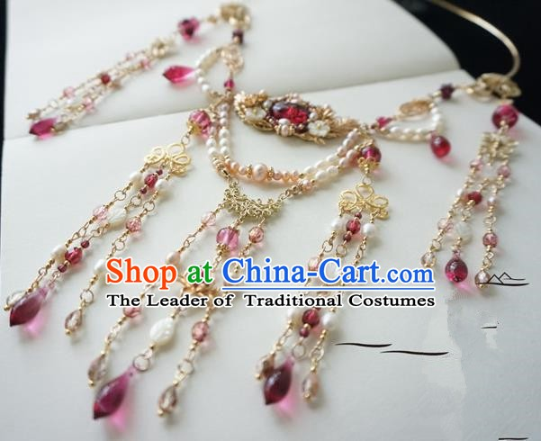 Chinese Handmade Ancient Jewelry Accessories Pearls Tassel Necklace Hanfu Necklet for Women