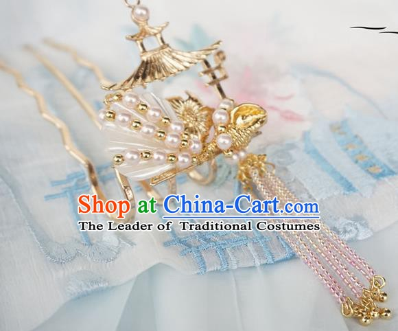 Chinese Ancient Handmade Hanfu Tassel Step Shake Pearls Hairpins Hair Accessories for Women