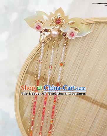 Chinese Ancient Handmade Tassel Step Shake Hanfu Lotus Hairpins Hair Accessories for Women