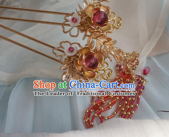 Chinese Ancient Handmade Hanfu Hairpins Hair Accessories Red Tassel Step Shake for Women