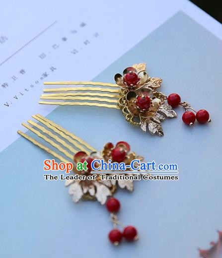 Chinese Ancient Handmade Hanfu Red Beads Tassel Hair Combs Hairpins Hair Accessories for Women