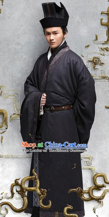 Chinese Ancient Eastern Han Dynasty Minister Zhao Yan Historical Costume for Men