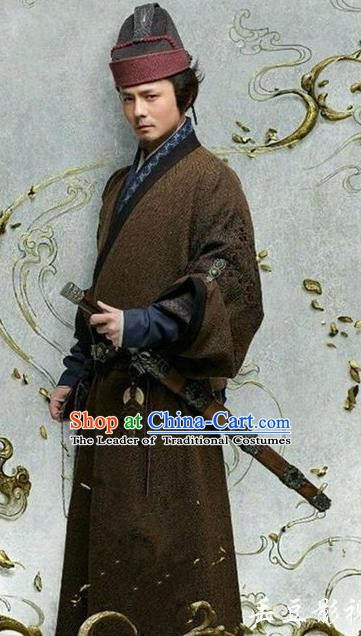 Chinese Ancient Three Kingdoms Period Wei State General Man Chong Historical Costume for Men