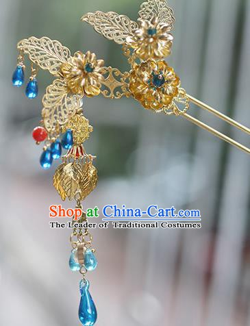 Chinese Ancient Hanfu Handmade Golden Leaf Hairpins Tassel Hair Clip Hair Accessories for Women