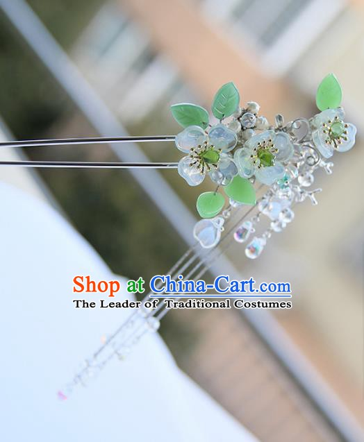 Chinese Ancient Hanfu Handmade Flowers Hair Stick Tassel Hairpins Hair Accessories for Women