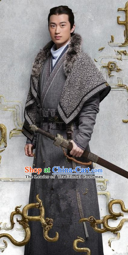 Ancient Chinese Eastern Han Dynasty Politician Swordsman Sima Lang Historical Costume for Men