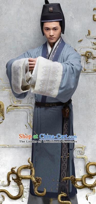 Ancient Chinese Eastern Han Dynasty Minister Politician Historical Costume for Men