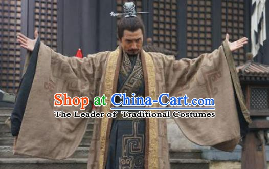 Ancient Chinese Qin Dynasty Emperor Hu Gai Historical Costume for Men