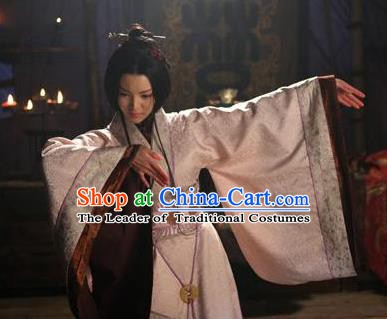 Chinese Ancient Western Chu State Imperial Concubine Yuji Embroidered Hanfu Dress Replica Costume for Women