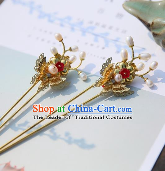 Chinese Ancient Hanfu Handmade Pearls Hairpins Butterfly Hair Stick Hair Accessories for Women