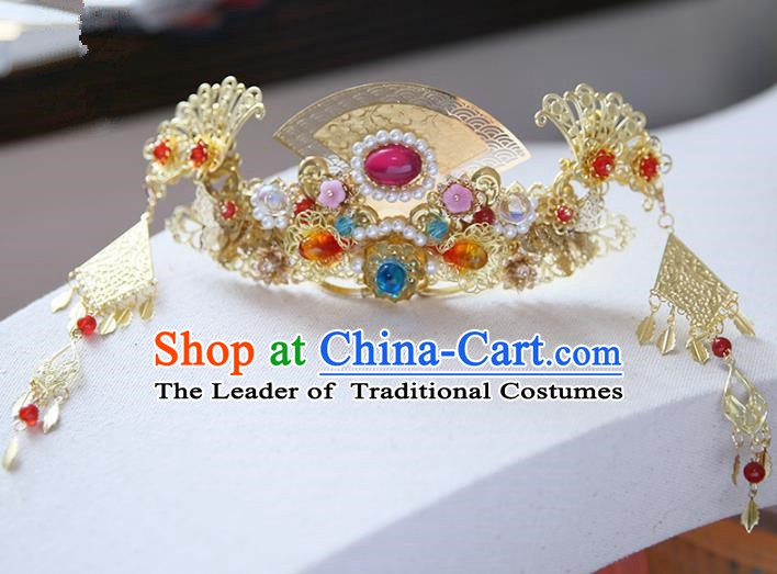 Chinese Ancient Hanfu Handmade Tassel Hairpins Phoenix Coronet Step Shake Hair Accessories for Women