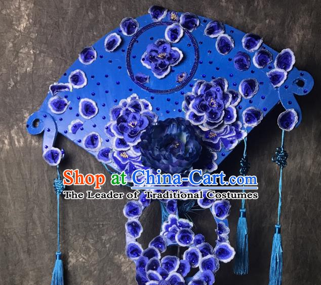 Top Grade Chinese Deluxe Hair Accessories Blue Headdress Halloween Stage Performance Headwear for Women