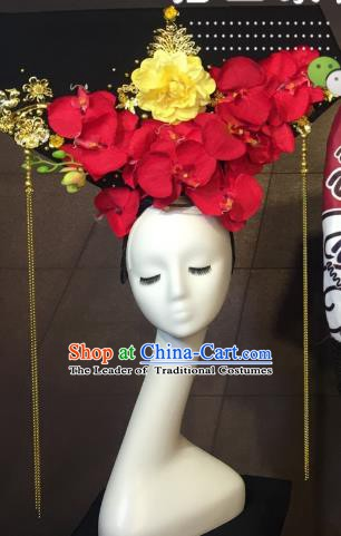 Top Grade China Catwalks Hair Accessories Qing Dynasty Palace Headwear Stage Performance Headdress for Women