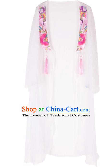 Traditional China National Costume Chinese Tang Suit Embroidered White Cardigan for Women