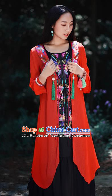 Traditional China National Costume Chinese Tang Suit Embroidered Red Cardigan for Women