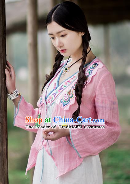 Traditional China National Costume Linen Blouse Chinese Tang Suit Embroidered Pink Cardigan for Women