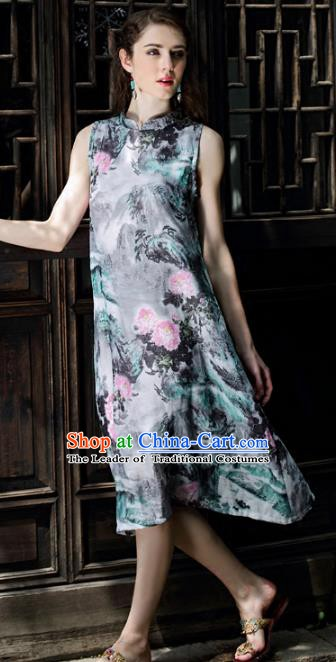 Traditional China National Costume Printing Flowers Cheongsam Dress Chinese Tang Suit Qipao for Women