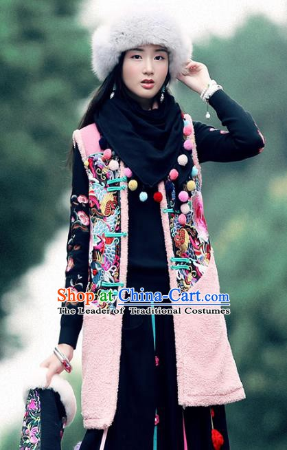 Traditional China National Costume Tang Suit Pink Vests Chinese Embroidered Peony Waistcoat for Women