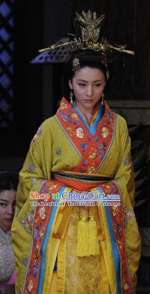 Traditional China Warring States Period Wu State Queen Embroidered Replica Costume for Women