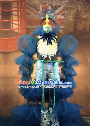 Top Grade Stage Performance Costume Modern Dance Children Dress Catwalks Blue Veil Full Dress for Kids
