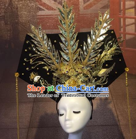 Top Grade China Style Palace Hair Accessories Stage Performance Qing Dynasty Headdresses for Women