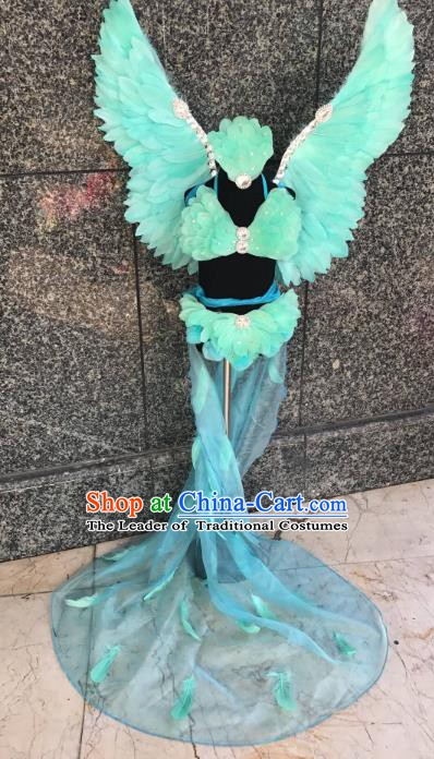 Top Grade Children Stage Performance Costume Modern Dance Catwalks Swimsuit Green Feather Wings for Kids