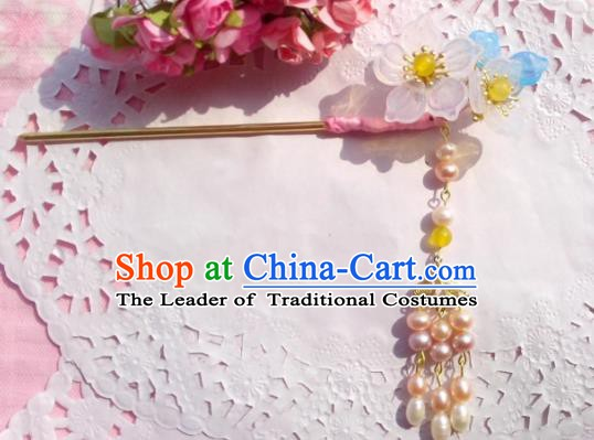 Traditional Chinese Ancient Hair Accessories Pearls Tassel Hairpins Hair Jewellery Hair Fascinators Headwear for Women