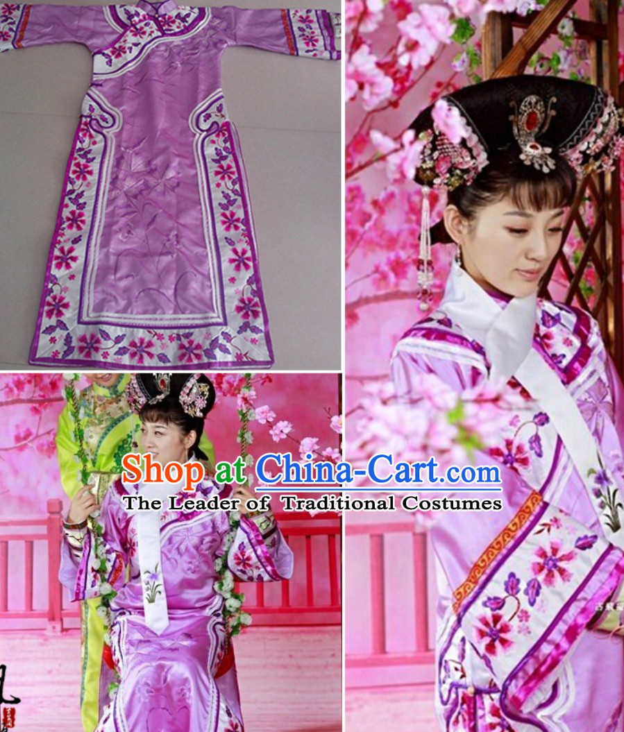 Ancient Chinese Qing Dynasty Manchu Imperial Princess Dress Royal Costumes Empress Clothing